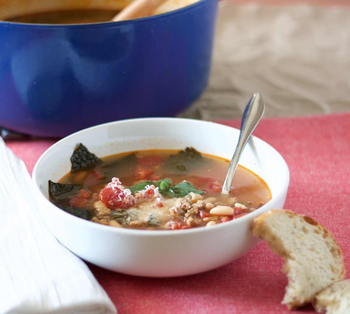 Turkey Sausage, Kale and White Bean Soup – Wine and a Wooden Spoon